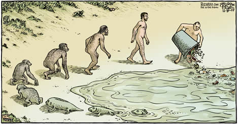 "Bizarro comics ""The Evolution of Trash"" image borrowed from earthisland.org"