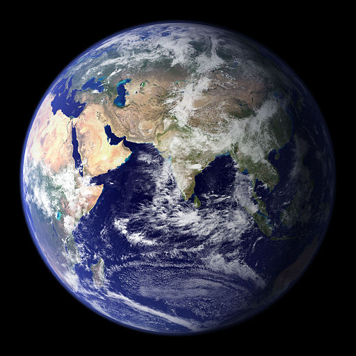 Image borrowed from https://commons.wikimedia.org/wiki/File%3AEarth_Eastern_Hemisphere.jpg By NASA [Public domain], via Wikimedia Commons